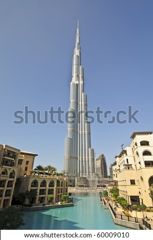 DUBAI, UAE - DEC 04: The Burj Khalifa, tallest building in the world, taken on December 4th 2009 in Dubai. The observation deck and viewing platform on the 124th floor is now open to the public. - stock photo