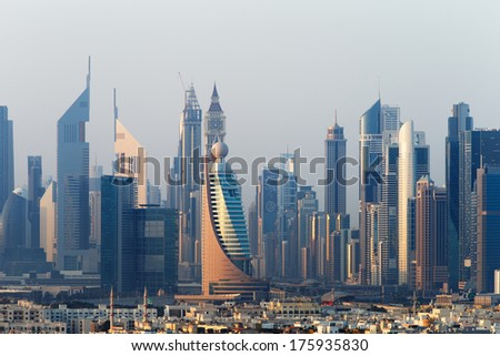 DUBAI, UAE - DEC 18: The Most Exciting City of Architecture in the Middle East on Dec 18, 2013 in Dubai, UAE. - stock photo
