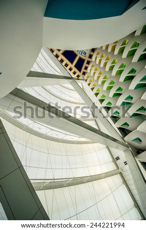 DUBAI, UAE - DECEMBER 25: Burj Al Arab, built on an artificial island on Jumeirah beach and classed as one of the most luxurious in the world, on December 25, 2014 - stock photo