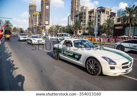 DUBAI, UAE - December 01, 2015: Daytime of 44th UAE National Day celebration parade at the Mohammed Bin Rashid Boulevard, downtown Dubai, taken on December 01, 2015, in Dubai, United Arab Emirates - stock photo