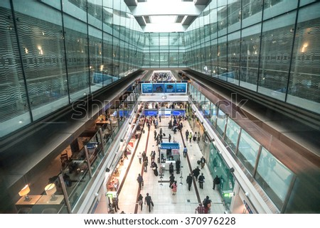 DUBAI, UAE - DECEMBER 25, 2015: Duty free area inside airport. Dubai International Airport is an international airport serving Dubai. It is a major airline hub in the Middle East.