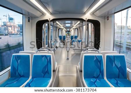 DUBAI, UAE - DECEMBER 5: New modern tram in Dubai, UAE. December 5, 2015 in Dubai, United Arab Emirates - stock photo