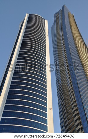 DUBAI, UAE - DECEMBER 26: View of Sheikh Zayed Road skyscrapers in Dubai, UAE on December 26, 2011. More than 25 skyscrapers taller than 100 meters can be found here.
