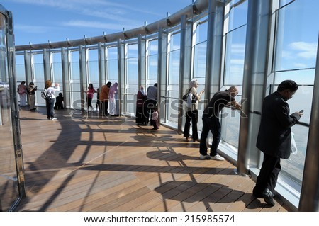 DUBAI, UAE - FEB 10: At The Top - Observation Deck of Burj Khalifa. Febraury 10, 2010 in Dubai, United Arab Emirates - stock photo