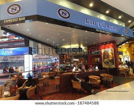 DUBAI, UAE - FEB 16: Caffe Nero at Dubai Mall in the UAE, on Feb 16, 2014,. Dubai Mall is the worlds largest shopping mall based on total area and 6th largest by gross leasable area. - stock photo