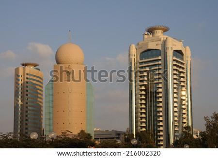 DUBAI, UAE - FEB 12: Highrise Buildings at Dubai Creek. February 12, 2009 in Dubai, United Arab Emirates  - stock photo
