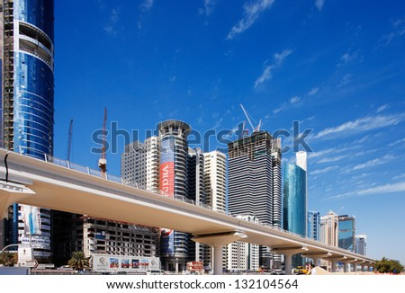 DUBAI, UAE - FEB 3: The development of the Sheikh Zayed Road on Feb 3, 2009 in Dubai, UAE. Dubai was the fastest developing city in the world between 2002 and 2008, development is still buzzing there