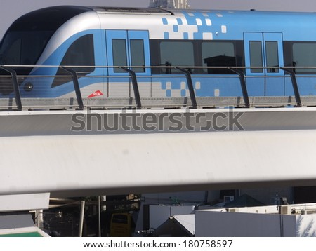 DUBAI, UAE - FEB 11: Train approaching Oud Metha Metro Station in Dubai, UAE, on Feb 11, 2014. Guinness World Records declared it the worlds longest fully automated driverless metro network.