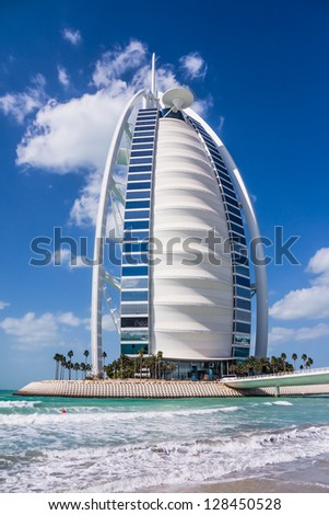 DUBAI, UAE - FEBRUARY 03: Burj Al Arab, considered the world's most luxurious hotel, on February 03, 2013. Built on an artificial island 280m from Jumeirah beach, best recognizable landmark of Dubai, UAE. - stock photo