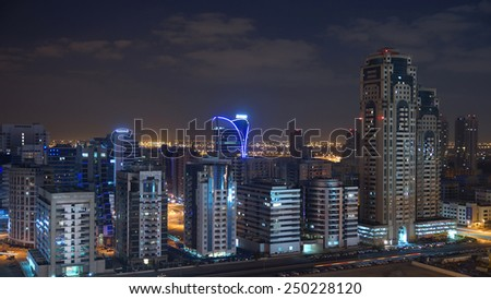 DUBAI, UAE - 2 February 2014: City at night.