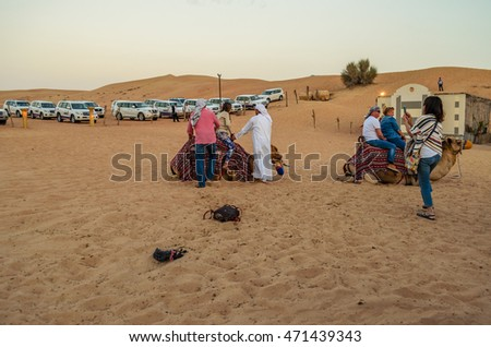 DUBAI, UAE - FEBRUARY 28 2014: Tourists and visitors enjoy the camel ride after the traditional desert safari in the Dubai - United Arab Emirates