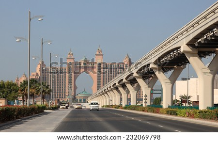 DUBAI, UAE - JAN 11: Road towards the Atlantis Hotel on Palm Jumeirah. January 11, 2012 in Dubai, United Arab Emirates  - stock photo