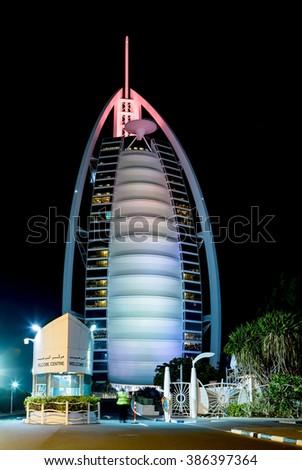 DUBAI, UAE - JANUARY 26: Architecture night of Dubai Burj Al Arab is a luxury 5 star hotel built on an artificial island in front of Jumeirah beach, UAE circa January 2016 - stock photo