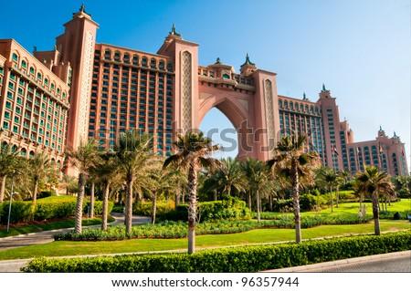 DUBAI, UAE - JANUARY 31: Atlantis, the Palm hotel in Dubai, UAE on January 31, 2012. Hotel with a total of 1539 rooms. - stock photo