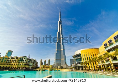 DUBAI, UAE - JANUARY 4: Burj Khalifa, world's tallest tower, Downtown Burj Dubai January 4, 2012 in Dubai, United Arab Emirates. - stock photo