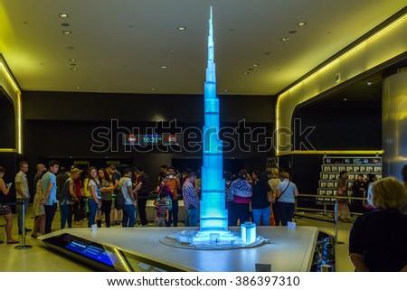 """DUBAI, UAE - JANUARY 23: model Burj Khalifa, """"Khalifa Tower"""" known as Burj Dubai before its inauguration, is a megatall skyscraper in Dubai, United Arab Emirates. Dubai, UAE circa January 2016 - stock photo"""