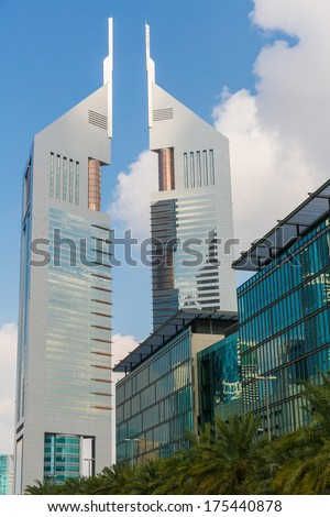 DUBAI, UAE-JANUARY 16: Skyscrapers in the city center on January 16, 2014 in Dubai, UAE. Modern skyscrapers in the city center.