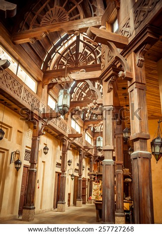 DUBAI, UAE - JANUARY 31: The Madinat Souk at Madinat Jumeirah Hotel on January 31, 2012 in Dubai. The traditional Arabian souk is a shopping paradise. - stock photo