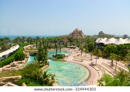 DUBAI, UAE - 16 JULY 2014: Beautiful water park at Atlantis, the Palm Luxury Resort Hotel in the United Arab Emirates.