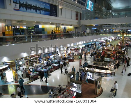 DUBAI, UAE - JULY 10: Dubai Duty Free at the International Airport, as seen on July 10, 2008, in Dubai, UAE. It is the worlds largest airport retailer based on turnover. - stock photo