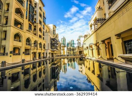 DUBAI - UAE, July 3, 2015: Souk Al Bahar. It is an Arabic - style retail and dining destination located in the heart of the prestigious Downtown Dubai, overlooking The Dubai Fountain. - stock photo