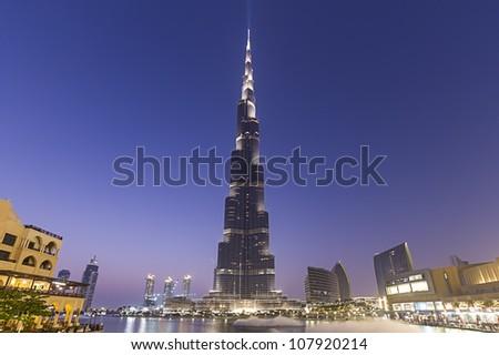 DUBAI, UAE - JUNE 29: Burj Khalifa, world's tallest tower, Downtown Burj Dubai June 29, 2012 in Dubai, United Arab Emirates - stock photo