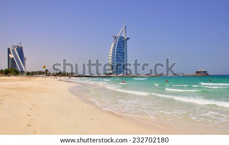DUBAI, UAE - JUNE 12: View of Burj Al Arab, the most expensive hotel in the world in Dubai city on June 12, 2012. Dubai is a city in the United Arab Emirates. - stock photo