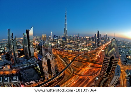 DUBAI, UAE - MAR 2: Busy Sheikh Zayed Road  in the evening March 2,2014 in Dubai, UAE - stock photo
