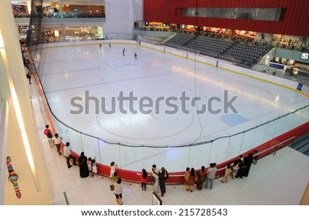 DUBAI, UAE - MAR 4: Ice Rink inside of the Dubai Mall - the biggest mall in the Middle East. March 4, 2010 in Dubai, United Arab Emirates