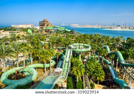 DUBAI, UAE - MARCH 1 2014: Aquaventure Waterpark in Atlantis. The Palm is the best Water Park in Dubai, packed with world first, record breaking rides. - stock photo