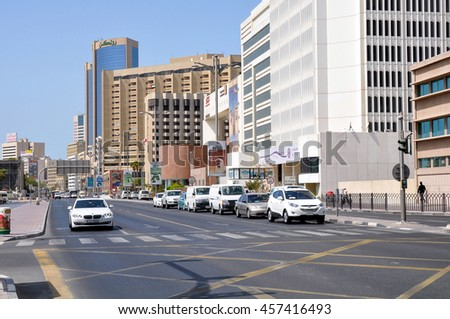DUBAI,UAE - MARCH 12,2012:Architecture and the road in the Deira district