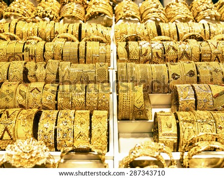 DUBAI, UAE - MARCH 16: Dubai Gold Souk on March 16, 2015 in Dubai, UAE. This traditional market is located in the central commercial district of Dubai.