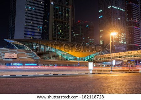 DUBAI, UAE -  6 MARCH, 2014: Dubai Metro as world's longest fully automated metro network (75 km). March  6, 2014 Dubai, UAE. - stock photo