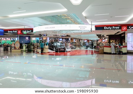 DUBAI, UAE - MARCH 31: duty free zone in airport on March 31, 2014 in Dubai. Dubai International Airport is a major airline hub in the Middle East, and is the main airport of Dubai. - stock photo