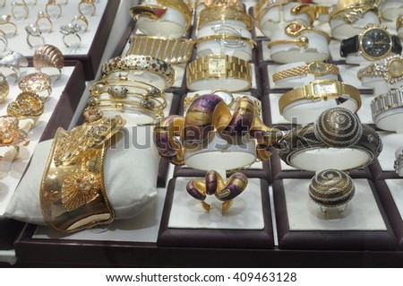 DUBAI,UAE - MARCH 11, 2012 - elegant gold jewelry in the largest gold market in Deira.The United Arab Emirates.