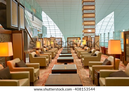 DUBAI, UAE - MARCH 09, 2016: interior of Emirates business class lounge. Emirates is the largest airline in the Middle East. It is an airline based in Dubai, United Arab Emirates. - stock photo