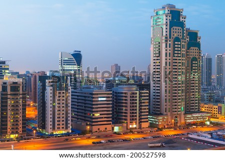 DUBAI, UAE - MARCH 31: Technology park of Dubai Internet City at night on 31 March 2014. Dubai Internet City is created by the government free economic zone for global information technology firms.