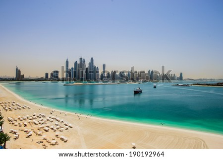 DUBAI, UAE - MARCH31 : View of modern skyscrapers in Jumeirah beach residence on March 31, 2014 in Dubai, JBR - artificial canal city, carved along a 3 km stretch of Persian Gulf shoreline.  - stock photo