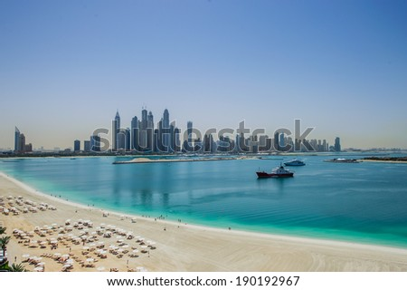 DUBAI, UAE - MARCH31 : View of modern skyscrapers in Jumeirah beach residence on March 31, 2014 in Dubai, JBR - artificial canal city, carved along a 3 km stretch of Persian Gulf shoreline.
