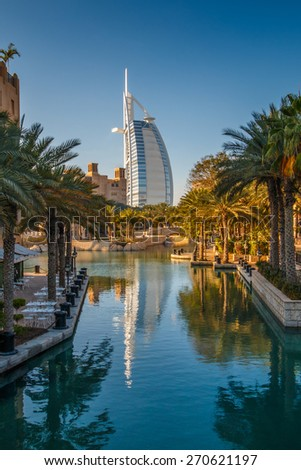 Dubai, UAE - March 29, 2015: View on Burj Al Arab from Madinat Jumeirah. Madinat is a luxury resort which include hotels and souk spreding across over 40 hectars.