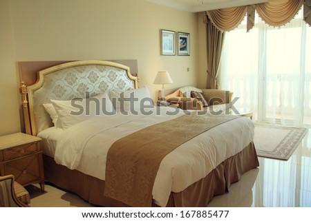 DUBAI, UAE   MAY 24: Deluxe Bedroom Suite Interior Of Kempinski Hotel U0026  Residences Part 97
