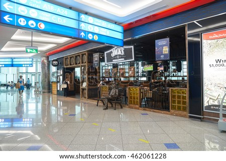 DUBAI, UAE - MAY 13, 2016: inside of Dubai International Airport. Dubai International Airport is the primary airport serving Dubai, United Arab Emirates.