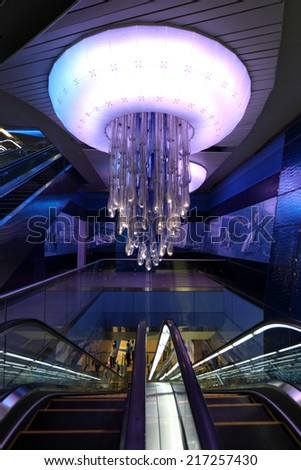DUBAI, UAE - MAY 27: Interior of the Khalid Bin Al Waleed metro station in Dubai. May 27, 2011 in Dubai, United Arab Emirates - stock photo