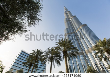 DUBAI, UAE - MAY 7, 2015: View at Burj Khalifa in Dubai. This skyscraper is the tallest man-made structure ever built, at 828 m.