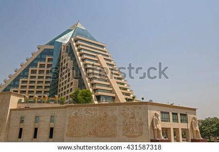 DUBAI, UAE - MAY 16, 2016: view on WAFI Mall in Dubai - stock photo