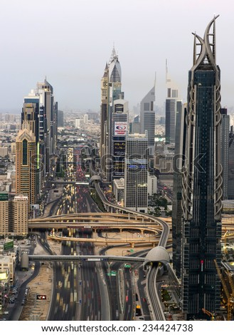 DUBAI, UAE - NOV 15: Busy Sheikh Zayed Road in the evening November 15,2014 in Dubai, UAE - stock photo
