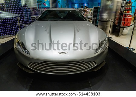 DUBAI, UAE - NOVEMBER 8, 2016: A 2016 Aston Martin DB10 at The Gallery in Burj Khalifa skyscraper.