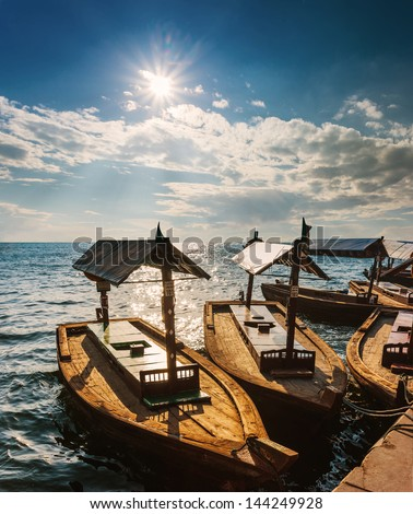 DUBAI, UAE - NOVEMBER 13: Boats on the Bay Creek in Dubai, UAE nov 13 2012 - stock photo