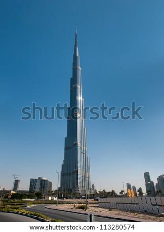 DUBAI, UAE - NOVEMBER 26. Burj Khalifa - the world's tallest tower at Downtown Burj Dubai, United Arab Emirates at Nov 26, 2011 - stock photo