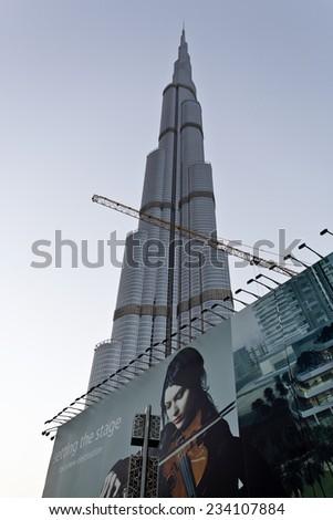 Dubai, UAE - November 29: Dubai Burj Khalifa, the tallest building in the world, at 828m. November 29, 2014 in Dubai, United Arab Emirates - stock photo
